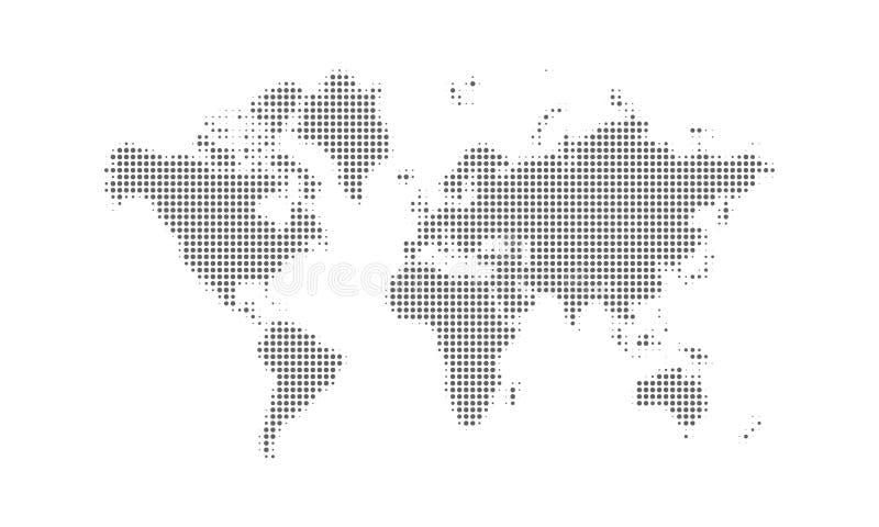 De gestippelde vectorachtergrond van de wereldkaart De digitale zwarte punt geïsoleerde kaart van de continentenwereld stock illustratie