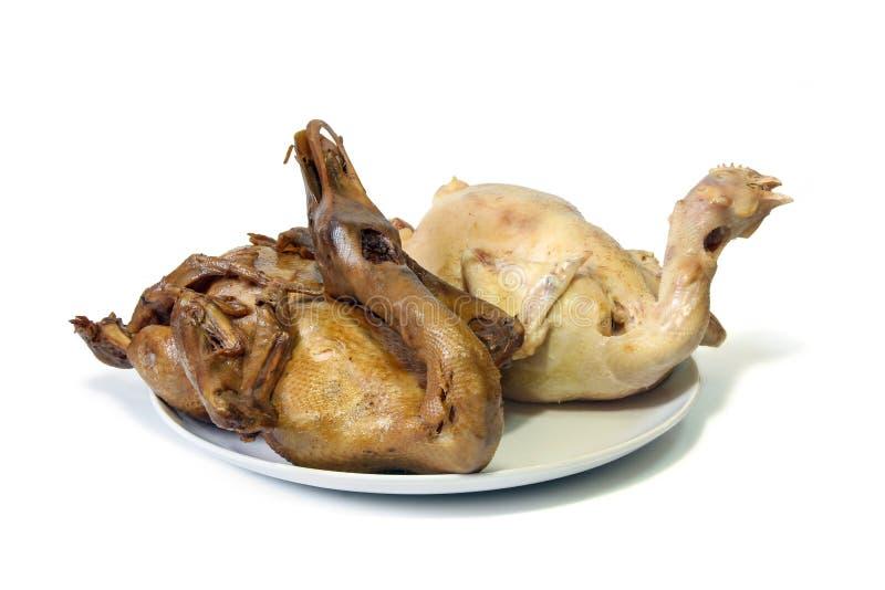 De gestoomde pot-gestoofde eend en de gekookte kip voor vieren in Chinees nieuw jaarfestival royalty-vrije stock foto