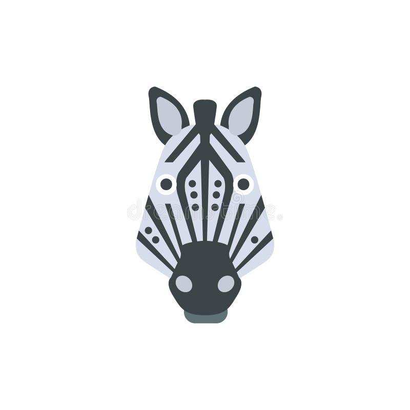 De gestreepte Afrikaanse Dieren stileerden Geometrisch Hoofd vector illustratie