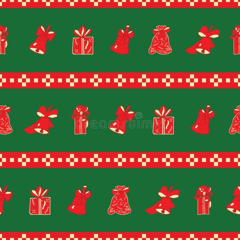 De gestreepte Kerstmisklokken en de giften herhalen patroon vector illustratie