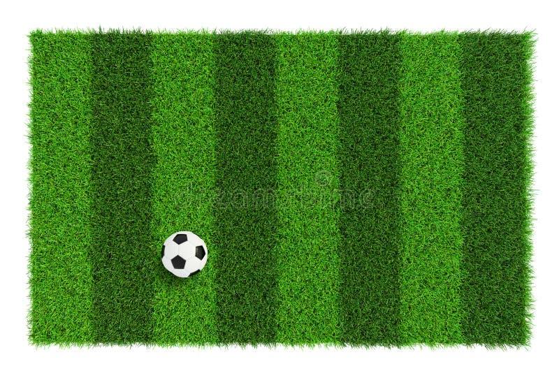 De gestreepte textuur van het voetbalgebied met voetbalbal, achtergrond met exemplaar ruimte hoogste die mening - op witte achter royalty-vrije stock foto's