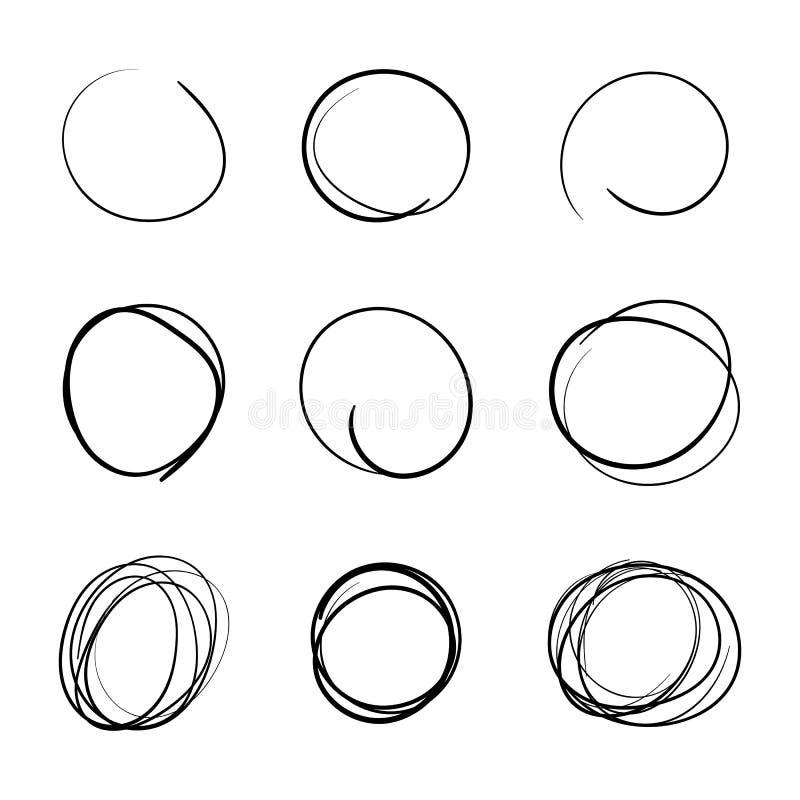De Getrokken Eenvoudige Reeks van het cirkelmalplaatje Hand stock illustratie