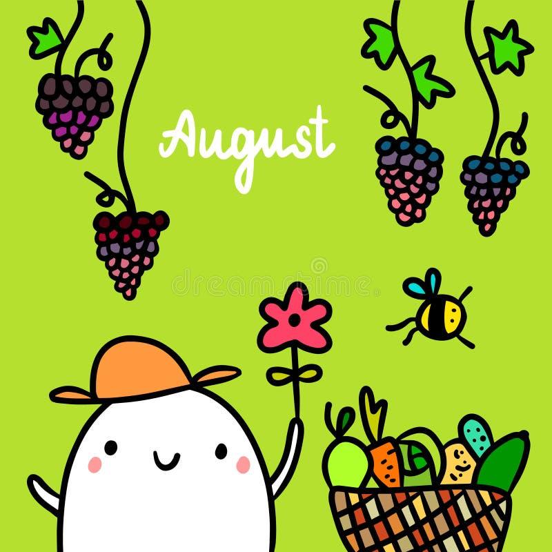 De getrokken illustratie van augustus hand met de leuke bloem van de heemstholding vector illustratie