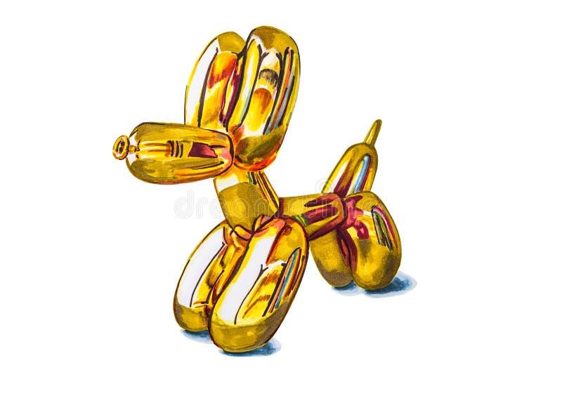 De getrokken illustratie van de hondballon hand met knippen van weg geïsoleerd op wit vector illustratie