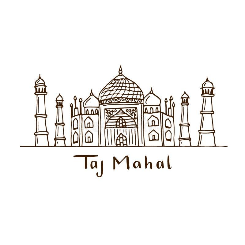 De getrokken illustratie van Taj Mahal hand Vectorschetsart. Het ontwerp van de affichedruk stock illustratie