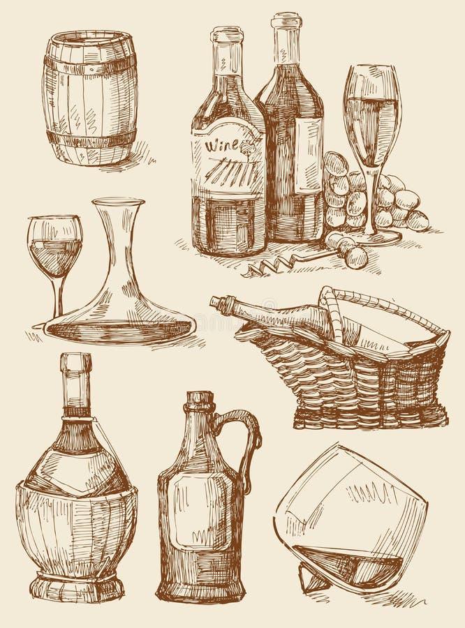 De getrokken inzameling van de wijn hand stock illustratie