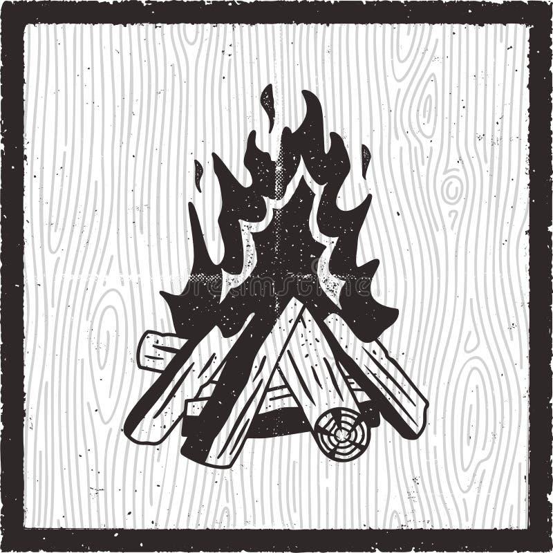 De getrokken kaart van de kampbrand hand Uitstekende zwart-wit stijl met vuur Voorraad vector retro affiche royalty-vrije illustratie