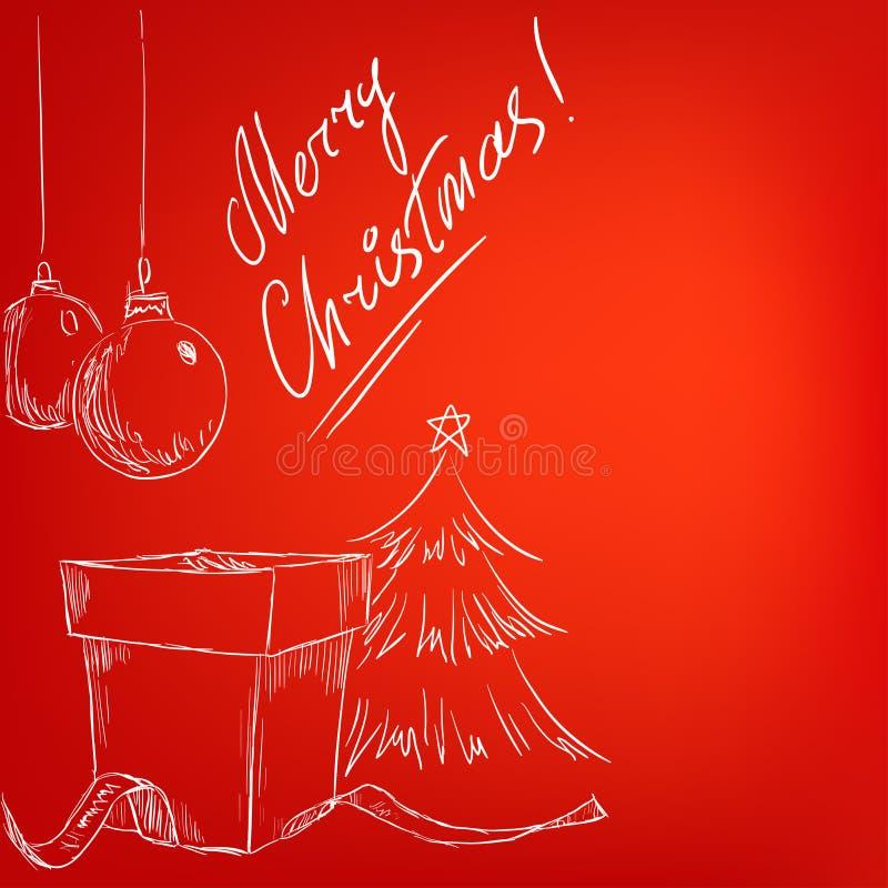 De getrokken kaart van Kerstmis hand met rode achtergrond royalty-vrije illustratie