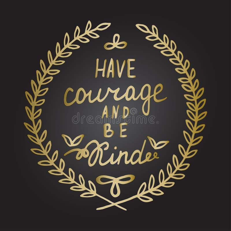 De getrokken kalligrafie die van het inspiratiecitaat Hand Motieven de bladerenkader van letters voorzien van de woorden Gouden l stock illustratie