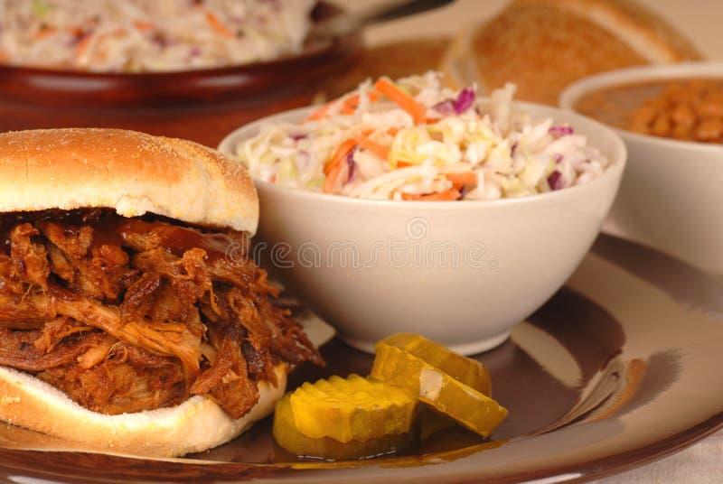De getrokken plaat van de varkensvleessandwich stock afbeeldingen