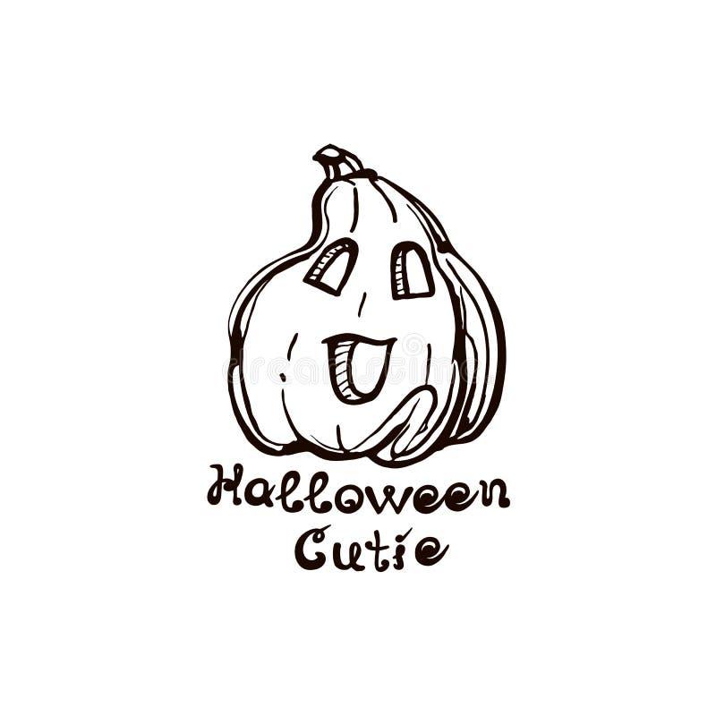 De getrokken pompoen van Halloween hand met met de hand geschreven uitdrukking vector illustratie