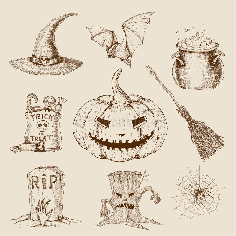 De Getrokken Reeks van Halloween Hand vector illustratie