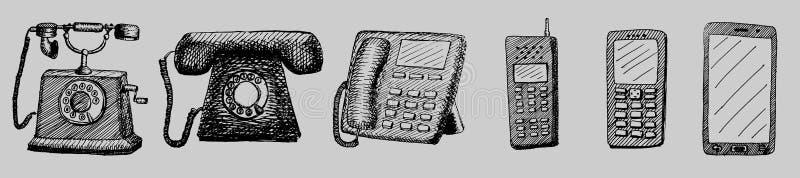 De getrokken retro en nieuwe illustratie van de telefoonevolutie hand royalty-vrije illustratie