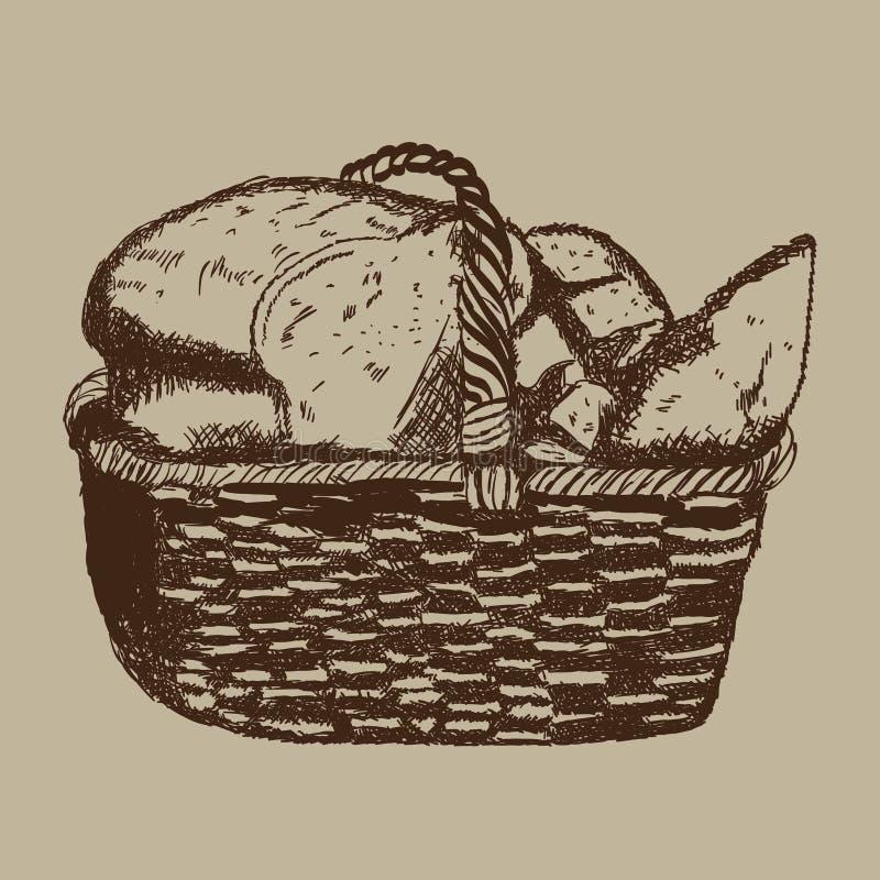 De getrokken retro stijl van de mandbakkerij hand vector illustratie
