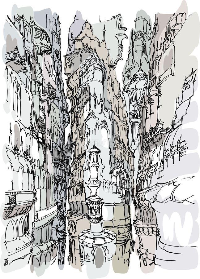 De getrokken stad uit de vrije hand van de borstellijnen gebaseerde fantasie scape vector illustratie