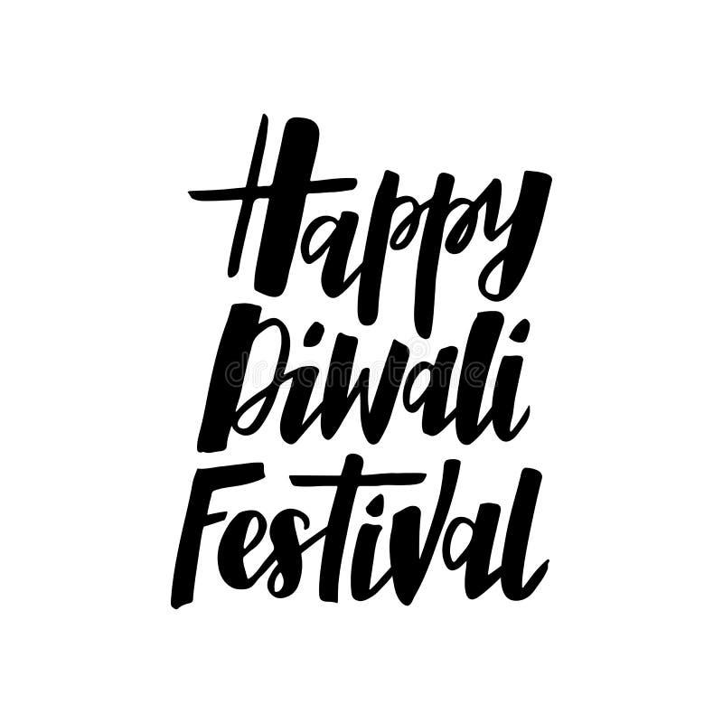 De getrokken tekst van het Diwalifestival hand stock illustratie