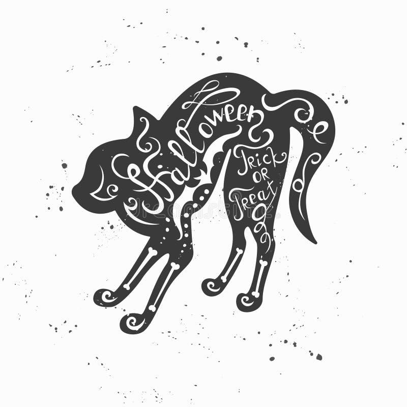 De getrokken typografische affiche van Halloween hand met zwarte kat vector illustratie