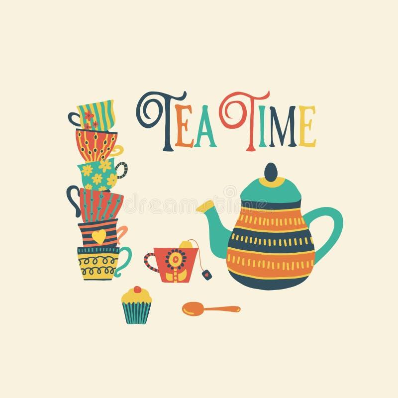 De getrokken vectorillustratie van de theetijd hand met gestapelde kleurrijke theekoppen, theepot, lepel, cupcake en het citaat v royalty-vrije illustratie