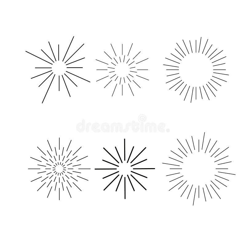 De getrokken vectorreeks van de zonnestraalinkt hand Wijnoogst en hipster zon de inzameling van stralenkaders Deel vier vector illustratie