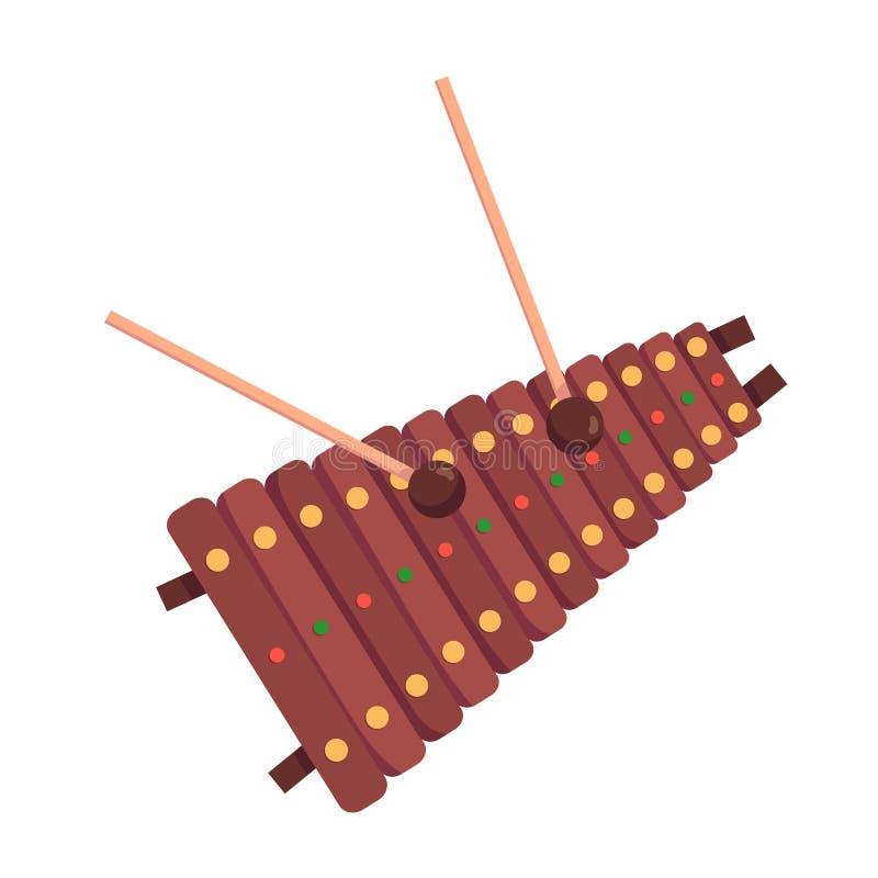 De geuite xylofoon van het percussie muzikale instrument, met houten sleutels, percussiestokken vector illustratie