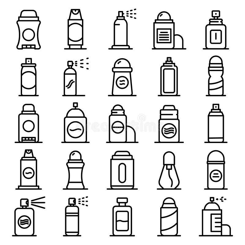 De geurbestrijdende geplaatste pictogrammen, schetsen stijl vector illustratie