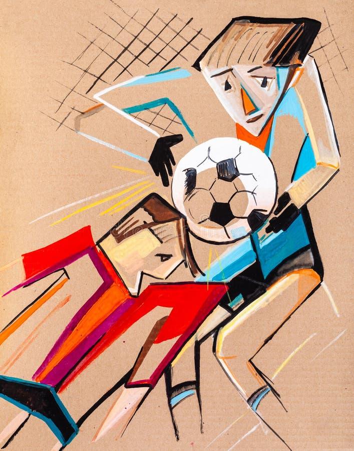 De gevaarlijke positie bij voetbalpoort royalty-vrije illustratie