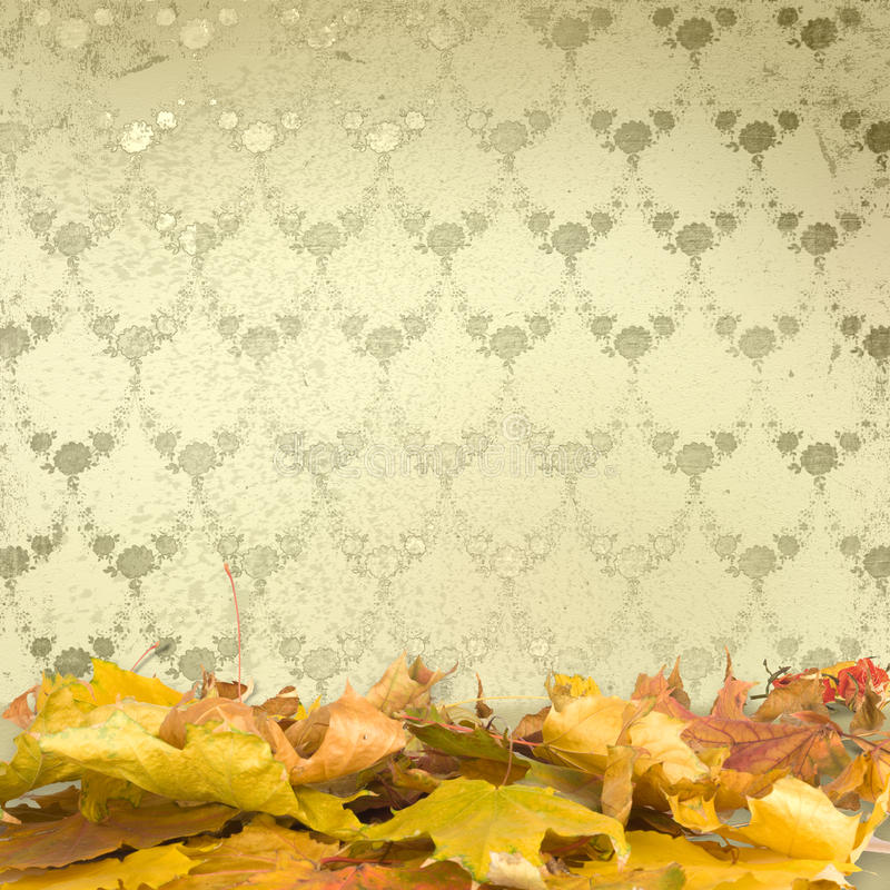 De gevallen bladeren met uitstekend behang vector illustratie