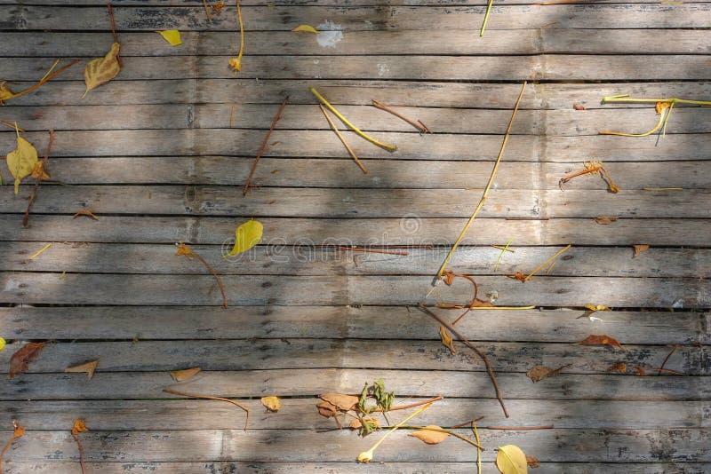 De gevallen droge bladeren en de bloemen op de bamboemat met zonlicht stellen in de schaduw stock foto