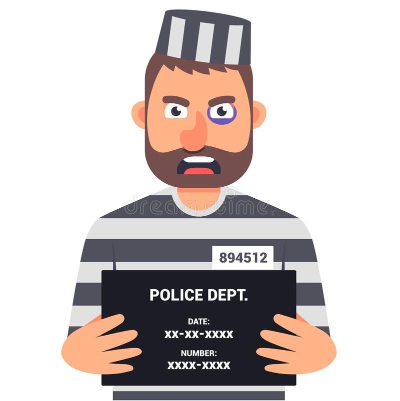 De gevangen misdadiger houdt een teken met de naam voor een identificatiefoto stock illustratie