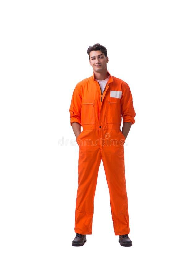 De gevangene in oranje die robe op witte achtergrond wordt geïsoleerd stock fotografie