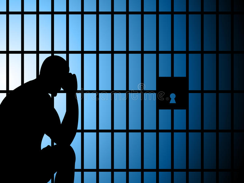 De gevangenis Copyspace vertegenwoordigt neemt in Bewaring en Arrestatie stock illustratie