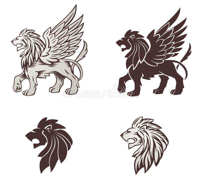 De gevleugelde Illustratie van de Leeuw vector illustratie