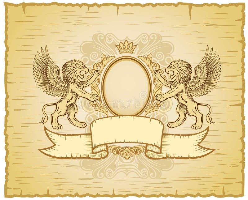 De gevleugelde ouderwetse Insignes van Leeuwen stock illustratie