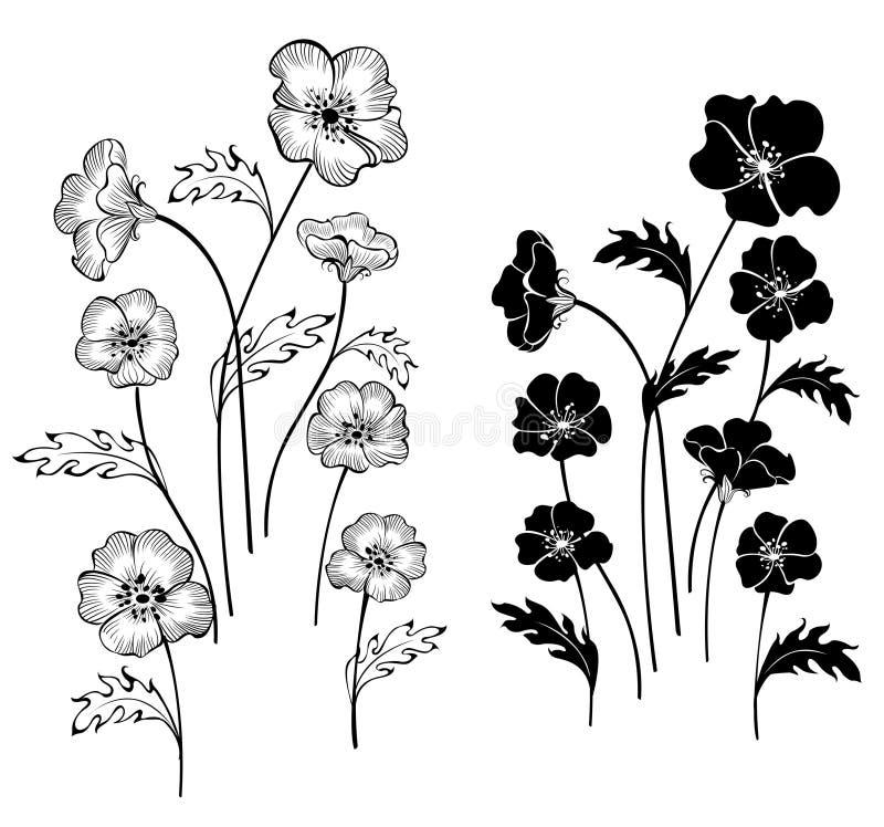 De gevoelige bloemen van silhouetten vector illustratie