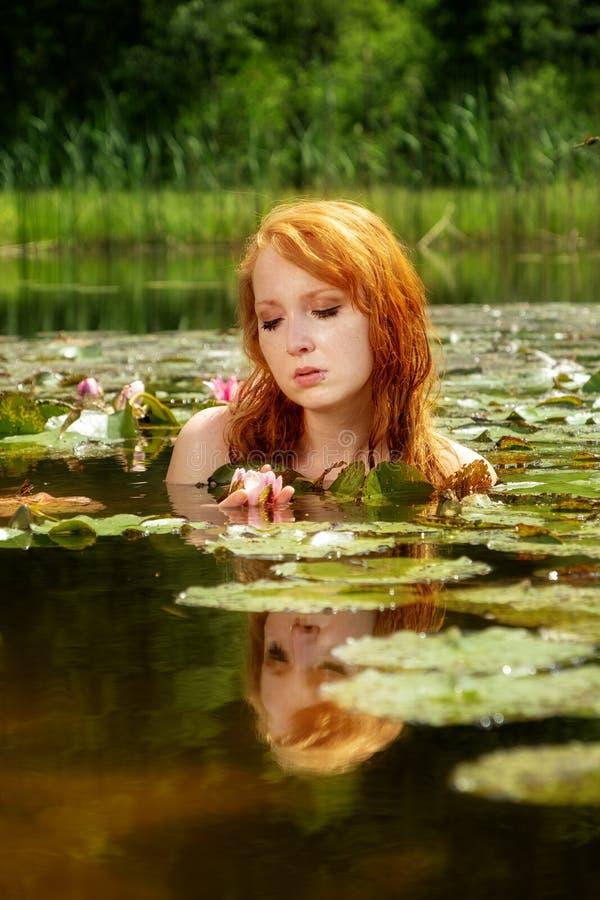De gevoelige jonge roodharige vrouwenverrukkingen sensueel in het water op een roze waterlelie bloeien stock afbeeldingen