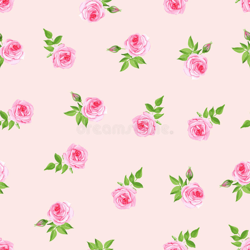 De gevoelige naadloze vectordruk van de rozenwaterverf royalty-vrije illustratie