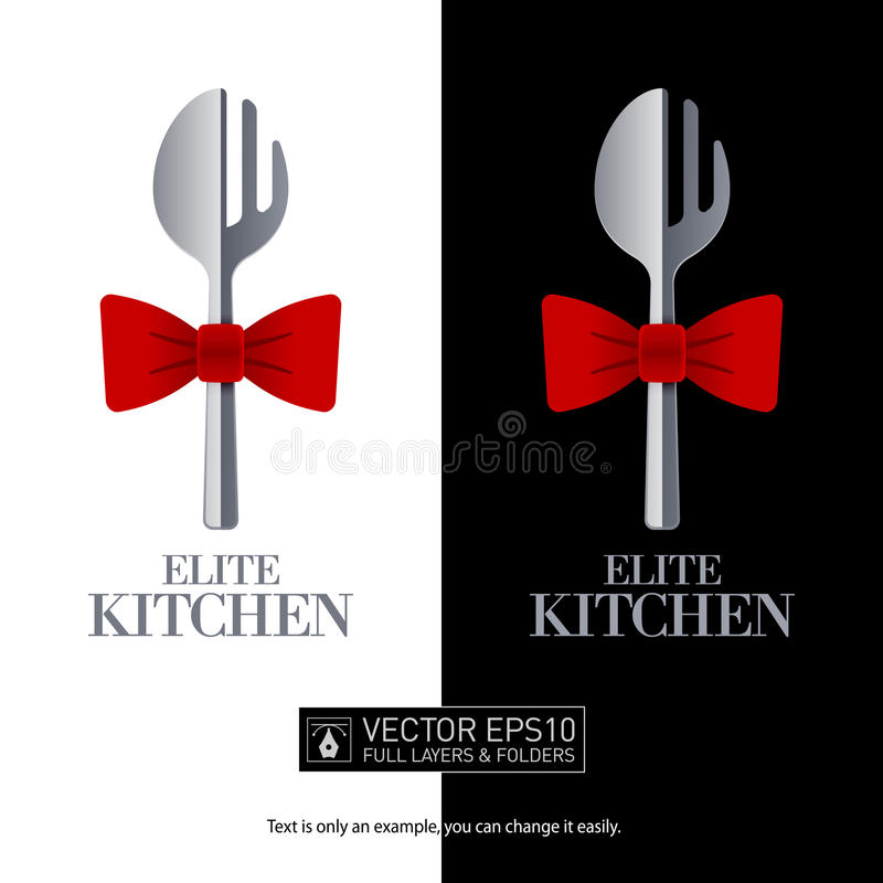 De gevormde vork en de lepel van het restaurantembleem pictogram stock illustratie