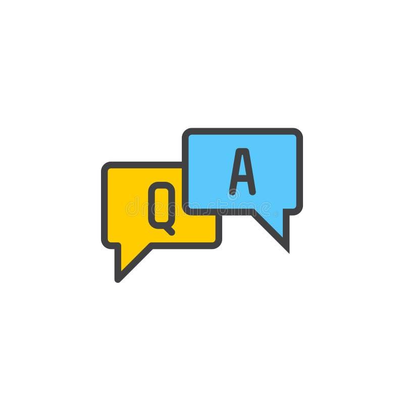 De gevulde FAQ, vragen en de antwoorden schetsen pictogram, lijn vectorteken, lineair kleurrijk pictogram royalty-vrije illustratie