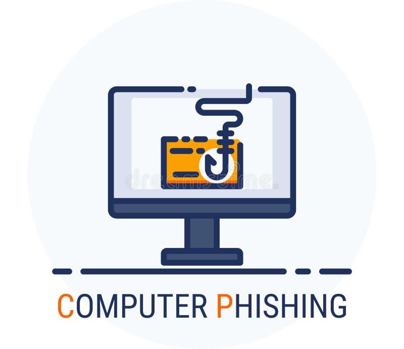 De gevulde Stijl van Lijnpictogrammen Van de de misdaadaanval van hakkercyber de Computer Phishing voor Webontwerp, ui, ux, mobie vector illustratie