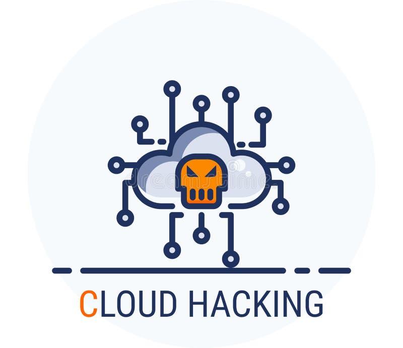 De gevulde Stijl van Lijnpictogrammen De Wolk van de de misdaadaanval van hakkercyber het Binnendringen in een beveiligd computer royalty-vrije illustratie