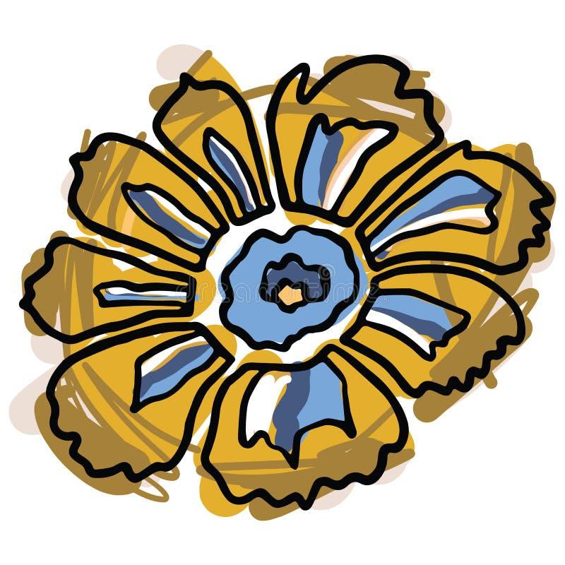 De gewaagde gele en blauwe reeks van het de illustratiemotief van het bloeibeeldverhaal vector De hand getrokken ge?soleerde elem royalty-vrije illustratie