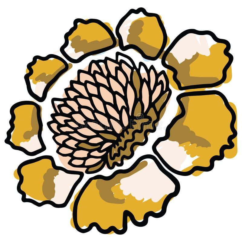 De gewaagde gele reeks van het de illustratiemotief van het bloeibeeldverhaal vector r stock illustratie