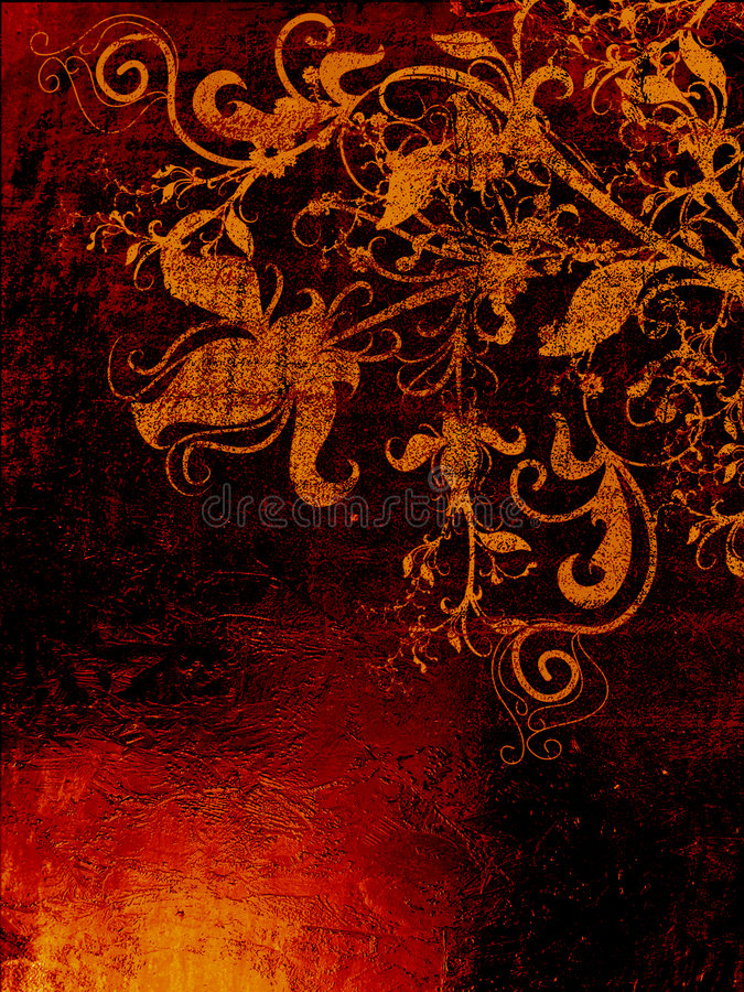 De geweven achtergrond van Grunge met bloemenelementen vector illustratie
