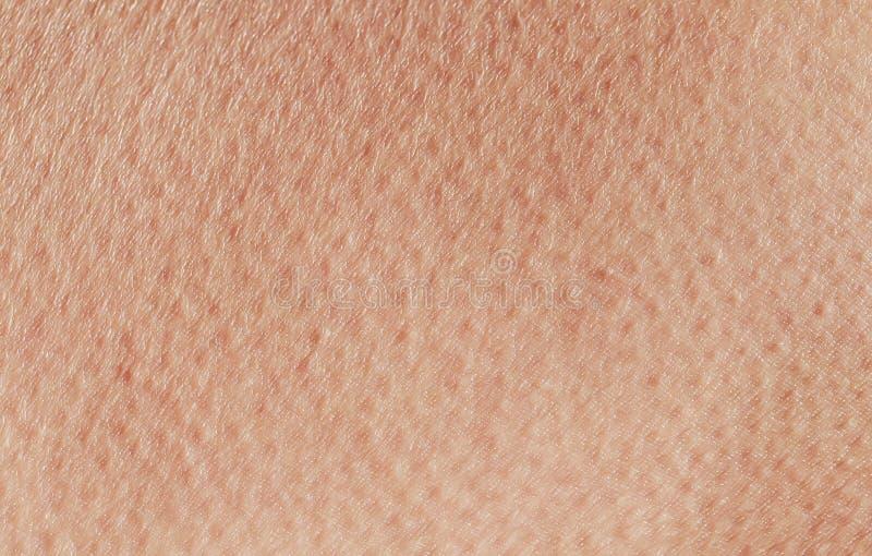 de geweven achtergrond van roze gezond menselijk huidclose-up anomie, behandeld met poriën en de rimpels kruipen royalty-vrije stock foto