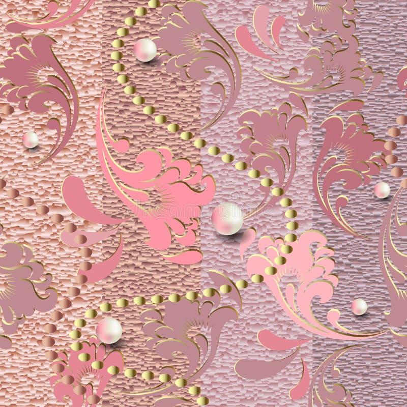 De geweven juwelen namen gouden 3d naadloos patroon toe Vector gestreepte grungeachtergrond Oppervlakte sier grungy textuur wijno vector illustratie