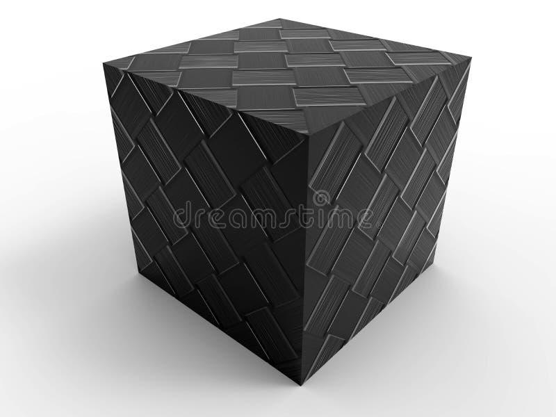 De geweven kubus van de koolstofvezel stock illustratie