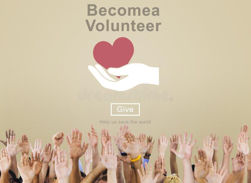 De geworden Vrijwilligersliefdadigheid schenkt Concept stock foto's