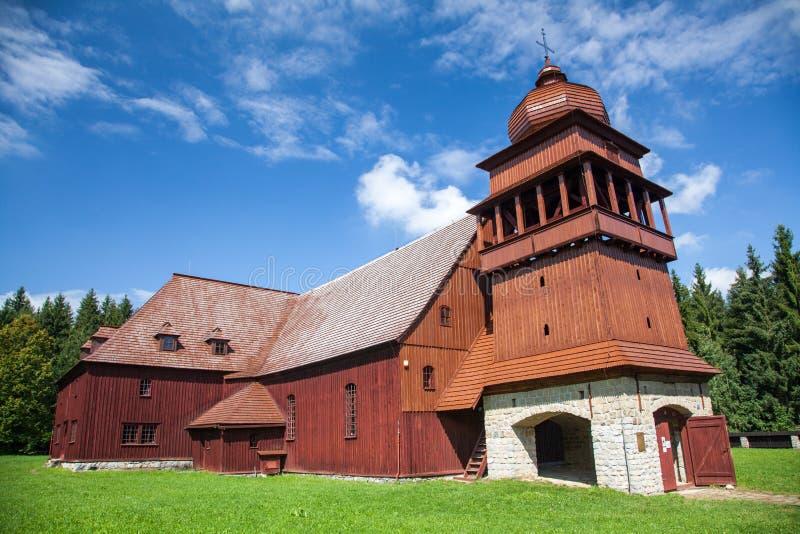 De Gewrichts Houten Kerk - Svaty Kriz, Slowakije royalty-vrije stock afbeelding
