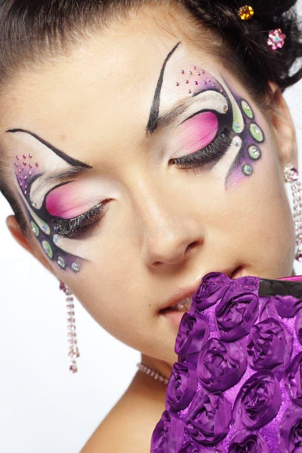 De gezicht-kunst en het kapsel van de manier royalty-vrije stock afbeelding