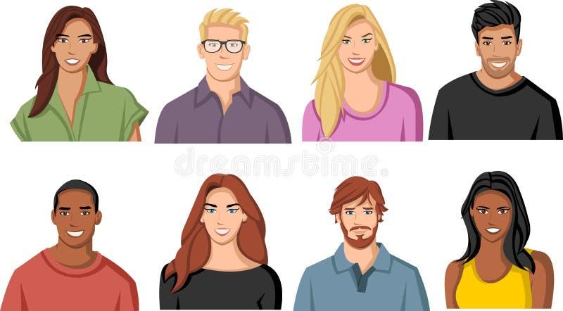 De gezichten van beeldverhaalmensen royalty-vrije illustratie